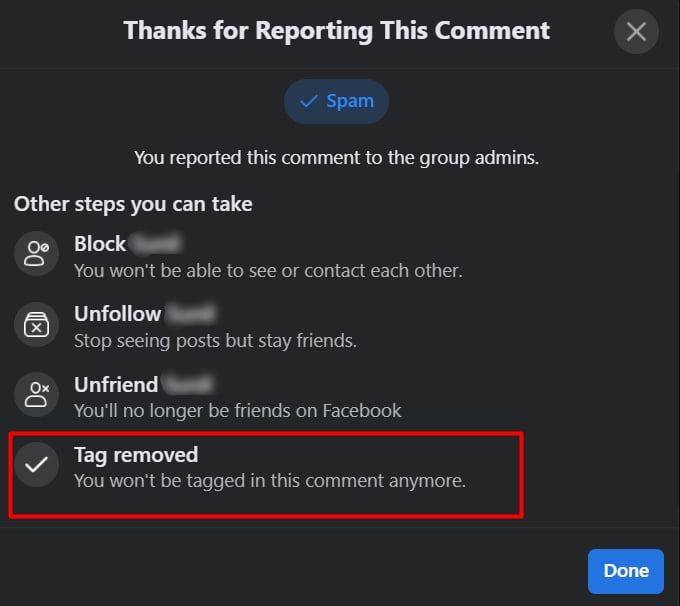 remove facebook comment tag