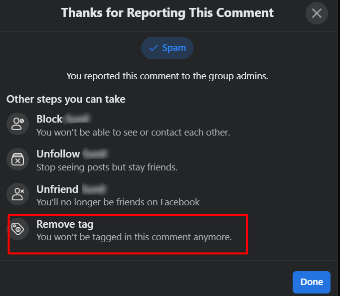remove tag from Facebook Comment